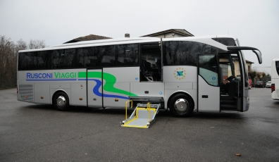 New bus with footboard for travels and pilgrimages